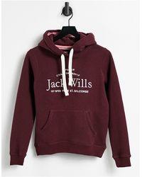 Jack Wills Felpa con cappuccio bordeaux con logo - Viola