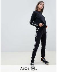 ASOS ASOS DESIGN Tall - Survêtement à bandes contrastantes avec sweat-shirt et jogger basique noué - Noir
