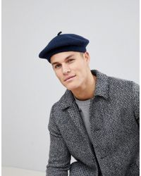 ASOS - Design Beret In Navy - Lyst