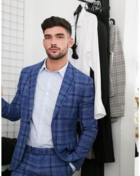 TOPMAN Skinny Fit Checked Suit Jacket - Blue