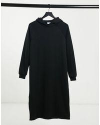 Noisy May Черное Платье-худи Миди -черный
