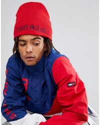 Hilfiger Denim - Tommy Jeans 90's Capsule Reversible Beanie In Red/navy - Lyst