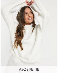 ASOS Asos Design Petite Fluffy Roll Neck Longline Jumper-white - Multicolour