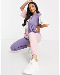 Missguided Colourblock T-shirt And legging Set - Purple