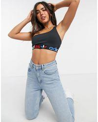 adidas Originals Tricolor Trefoil Three Stripe One Shoulder Bralette - Black