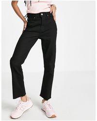 Brave Soul Fran Straight Mom Jeans - Black