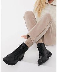 Camper Черные Кожаные Походные Ботинки На Шнуровке И Массивной Подошве Pix-черный