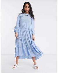 Monki Long Sleeve Tiered Midi Dress - Blue