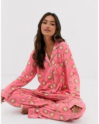 Chelsea Peers Pyjama long à imprimé hérisson - Rose