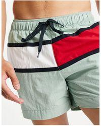 Tommy Hilfiger Мятно-зеленые Шорты Для Плавания С Большим Логотипом В Виде Флага -зеленый Цвет