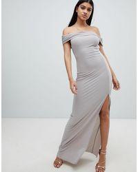 AX Paris Vestido largo con escote bardot y abertura lateral - Gris