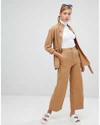 Monki Wide Leg Pants With Pockets - Natural