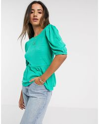 Vero Moda Peplum Top With Lace Back - Green