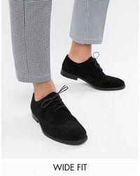 ASOS Wide Fit Derby Brogue Shoes - Black