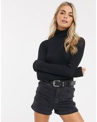 Free People All You Want Roll Neck Long Sleeved Bodysuit - Black