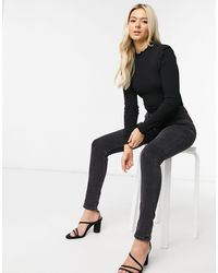 Pieces Long Sleeved Ribbed Top With Lettuce Hem Edges - Black