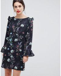 Zibi London Long Sleeve Printed Floral Shift Dress - Black