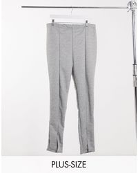 Fashionkilla Fitted Trousers With Split - Grey
