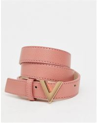 Valentino Garavani Divina - Cintura rosa con fibbia a V