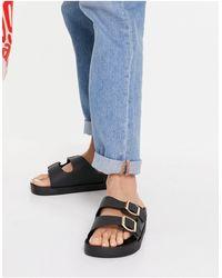 London Rebel Wide Fit Double Buckle Footbed Sandals - Black