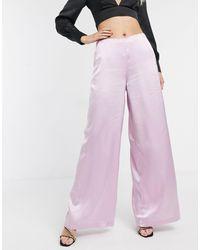 UNIQUE21 Satin Wide Leg Trousers - Pink