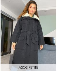 ASOS Asos Design Petite Borg Collared Belted Puffer Jacket - Black