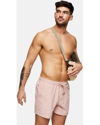 TOPMAN Recycled Polyester Swim Shorts - Pink