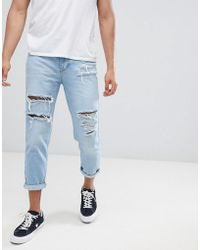 Mennace - Tapered Crop Jean With Extreme Rips In Light Blue - Lyst