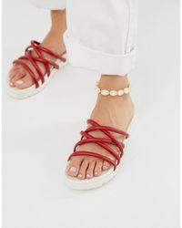Blink Tubular Mule Flat Sandals - Red