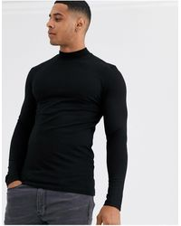 ASOS Muscle Fit Long-sleeved Jersey Turtleneck Top - Black