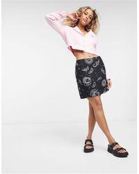 Motel A-line Mini Skirt With Thigh Split - Black