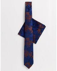 Burton Комплект С Темно-синим Галстуком С Выжженным Оранжевым Цветочным Рисунком -темно-синий