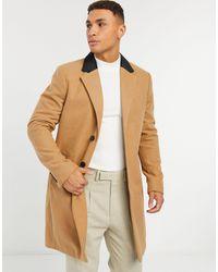 French Connection Однобортное Пальто С Бархатным Воротником -коричневый Цвет
