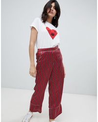 Soaked In Luxury Pantalon loose à rayures - Rouge