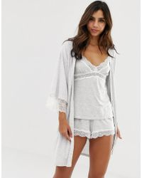 DORINA - Cordelia Modal Lace Trim Dressing Gown In Grey Melange - Lyst