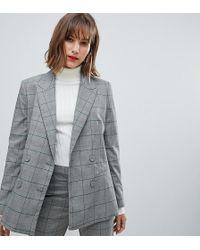 Mango - Check Blazer Co Ord In Grey - Lyst