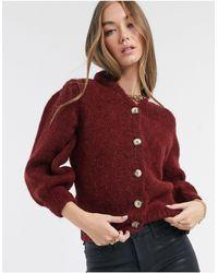 Vero Moda Gebreid Vest Met Contrasterende Knopen - Rood
