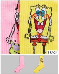 ASOS Набор Из 2 Пар Спортивных Носков С Дизайном «губка Боб И Патрик» - Желтый