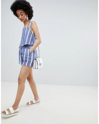 ONLY - Stripe Paperbag Waist Short Co-ord - Lyst
