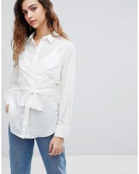 Warehouse - Tie Front Shirt - Lyst