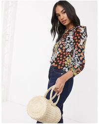 Warehouse Блузка С Разноцветным Цветочным Принтом -многоцветный