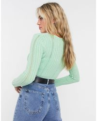 Reclaimed (vintage) Inspired Knitted Tie Front Cardigan - Green