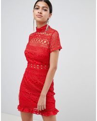 Love Triangle - Crochet Lace High Neck Mini Dress - Lyst