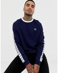 Fred Perry - Sports Authentic Taped Crew Neck Sweat In Navy - Lyst