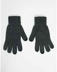 ASOS - Темно-серые Перчатки Со Вставками Для Работы C Сенсорным Экраном - Lyst