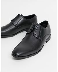 Moss Bros Moss London Faux Leather Derby Shoe - Black