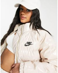Nike Кремовый Лакированный Пуховик - Естественный