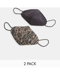 TOPMAN 2 Pack Camouflage Print Face Covering - Multicolour