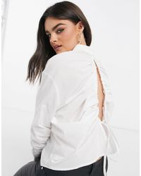 ASOS Cotton Shirt With Channel Open Back Detail - White