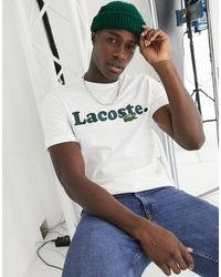 Lacoste T-shirt With Large Chest Logo An Croc - White